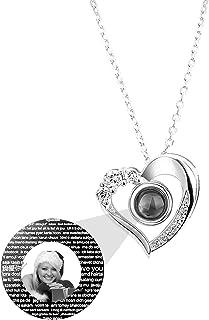 Y.verve Collana di proiezione 100 Lingue Collana Ti Amo Collana con Foto Personalizzata Collana con Ciondolo a Cuore Collana