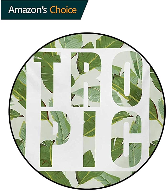 RUGSMAT Green Modern Washable Round Bath Mat Perennial Shrubs Evergreen Exotic Dreamy Palm Leaves Romance Plants Illustration Non Slip Bathroom Soft Floor Mat Home Decor Diameter 71 Inch