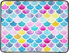 Shining Rainbow Ocean Mermaid Fish Scale Pattern Portable and Foldable Blanket Mat 60x78 Inch Handy Mat for Camping Picnic Beach Indoor Outdoor Travel