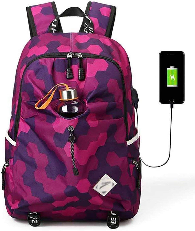 TONGSH Laptop Rucksack, Mode Tragen Rucksack Outdoor Camouflage Sport Reise Leichte Rucksack Lässig Daypack Student Schultasche Laptoptasche Mit USB Ladeanschluss (Farbe   Style F) B07PNPV9T3 | eine große Vielfalt