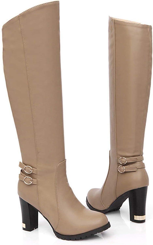 Autumn Winter High-Heeled Knee Boots Women Ankle Belt Buckle Side Zipper Boots