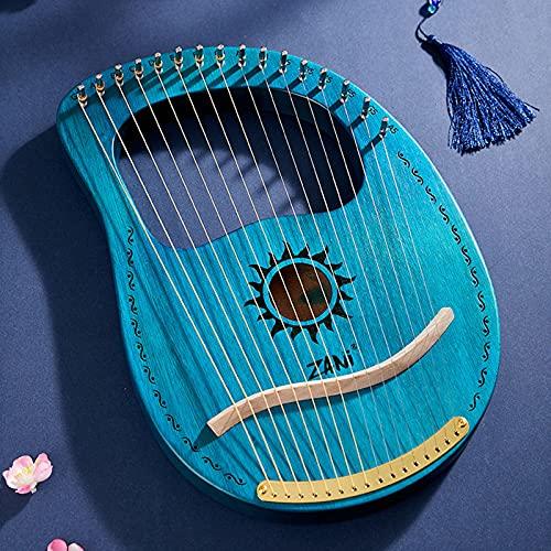 SXMY Arpa De Lira 19 Cuerdas Caoba Arpa Pequeña Portátil Instrumento Portátil de 16 Cuerdas para Principiantes para Amantes De La Música Principiantes Niños Adultos,007,16 Strings