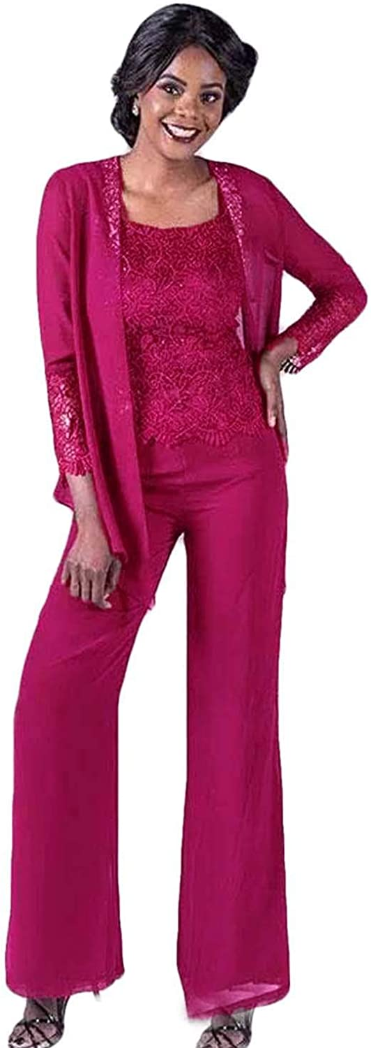 Xixi House Lace Mother of The Bride Pant Suits with Jackets Wedding Guest Dress Plus Size Chiffon Mothers Groom Trouser Suits
