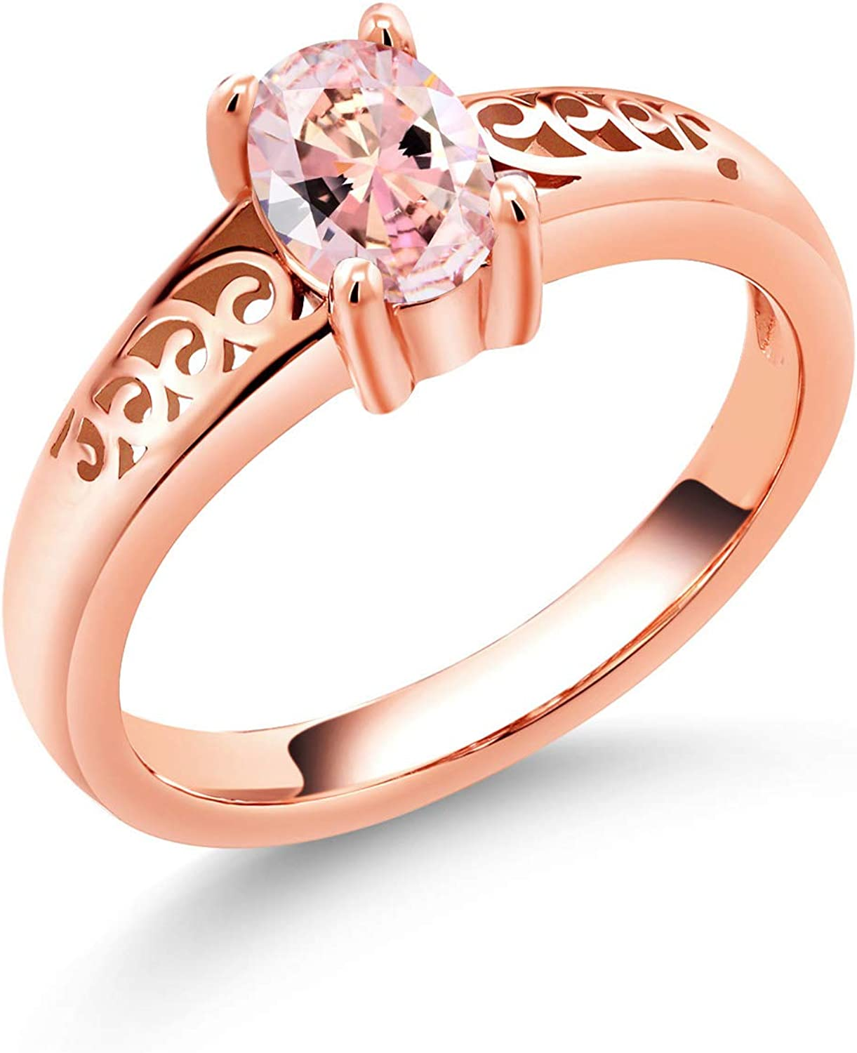 Gem Stone King Max 87% OFF 18K Rose Purchase Gold Silver Baroque Solitaire Sty Plated