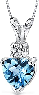 14 Karat White Gold Heart Shape 1.00 Carats Swiss Blue Topaz Diamond Pendant