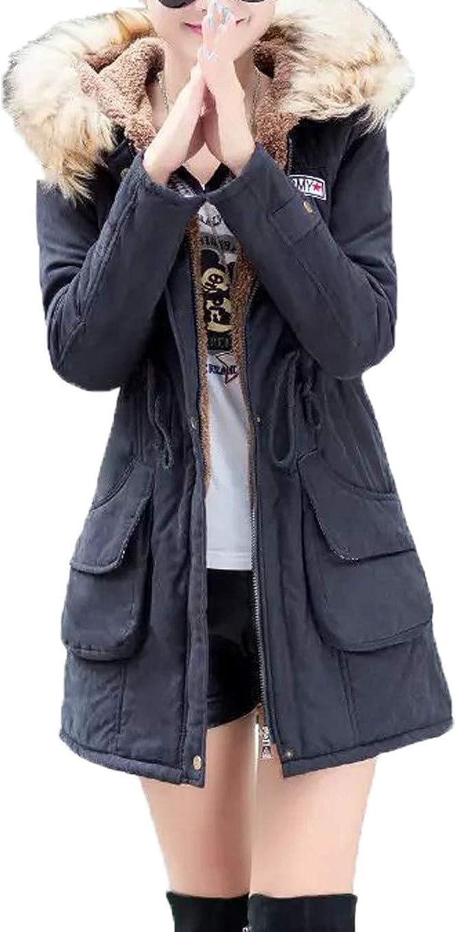 Women Lightweight Jackets Hooded Zip Parkas Long Sleeve Solid Fleece Coat Outwear