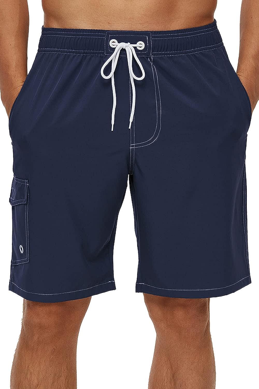 yuyangdpb Men's Quick Dry Swim Trunks Mesh Lining Beach Board Shorts with Pockets