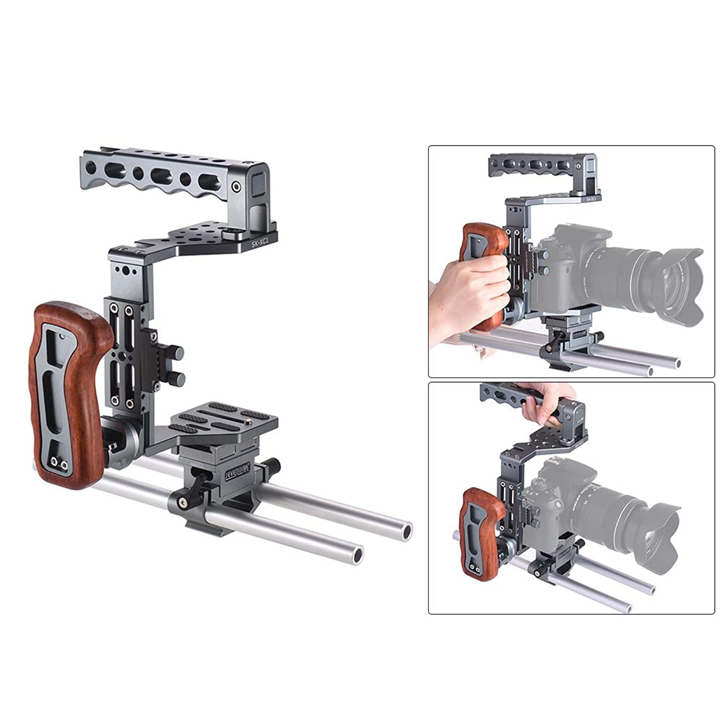 TPOTOO SEVENOAK SK-XC1 Universal DSLR Camera Cage 15mm Rod Baseplate Kit Aluminum Alloy with Wooden Handle Video Film Movie Making Stabilizer System