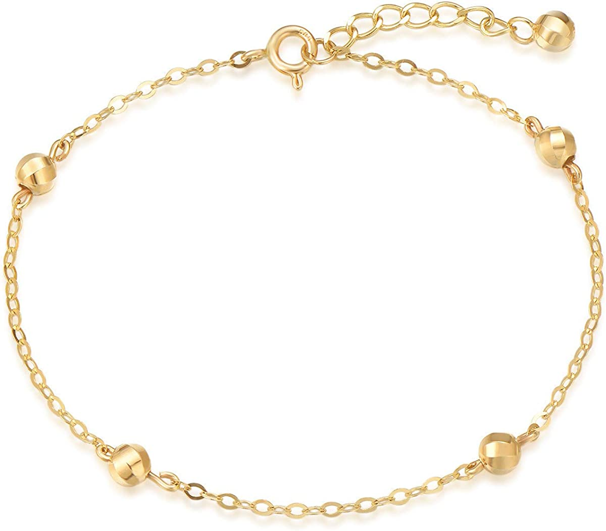 FANCIME 14K Solid Gold Bead Ball Tiny Delicate Bracelet Anklet Anniversary Jewelry Gift with Lobster Clasp, 6.7+1 inches Long