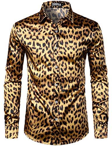 ZEROYAA Men's Hipster Leopard Printed Silk Like Satin Button Up Dress Shirt for Party Prom ZLCL31-103-Gold Medium