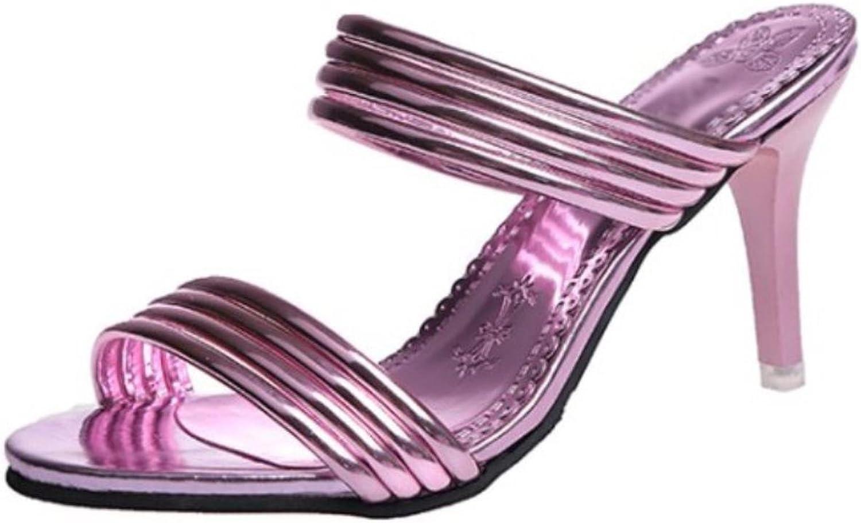 KRSCBF Elegant Women High Heel Sandals Open Toe Thin Heel Slippers Summer