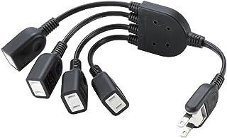 エレコム 電源ケーブル ACアダプタを4個つなげる 0.2m ブラック T-ADR4BK