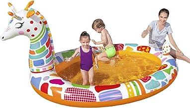 Patchwork Piscina Inflable para niños Fuente de Jirafa Airbag Independiente con Capa de PVC Grueso Resistente al Desgaste para Juegos de jardín de Interior al Aire Libre Fiesta de Agua de ve