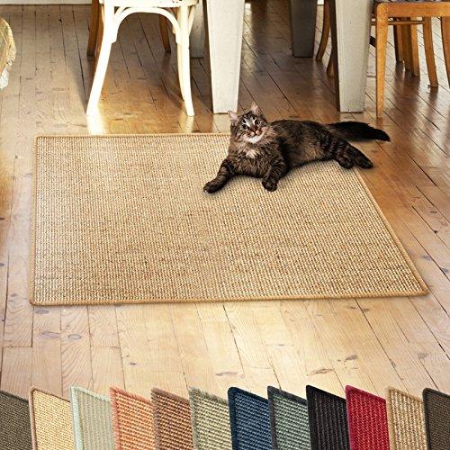 casa pura Sisalteppich Natural Line | ideal als Kratzmatte für Katzen | schadstofffrei & widerstandsfähig | Sisal Kratzteppich in vielen Farben und Größen (Cork, 100x100 cm)