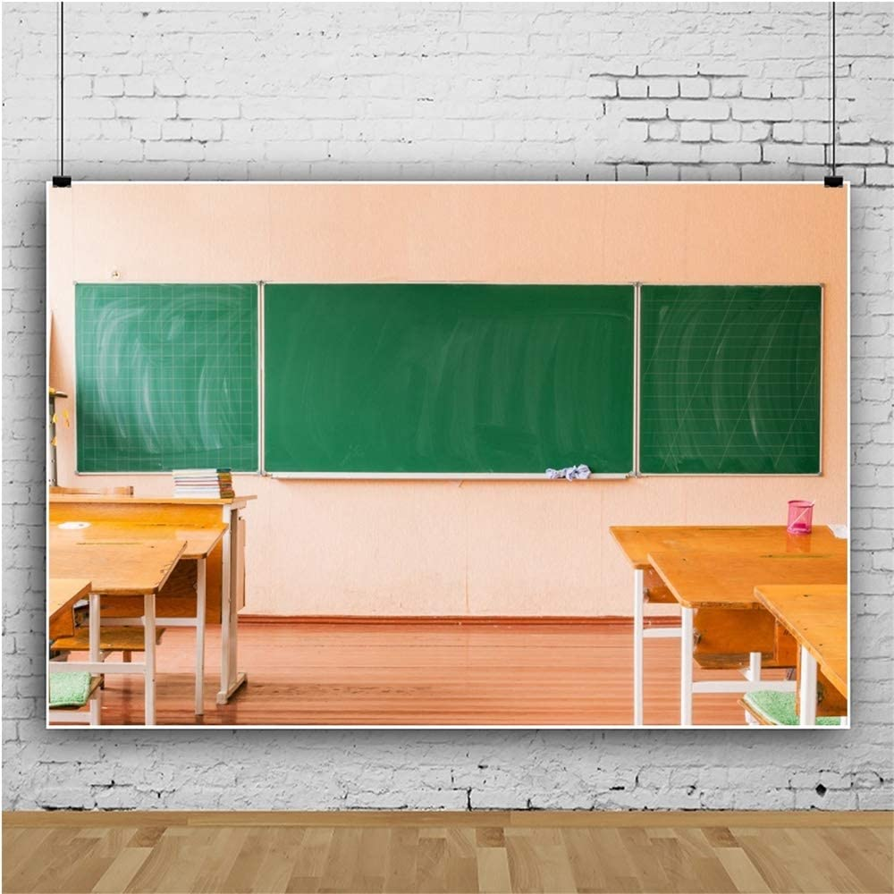 OERJU 20x10ftBack to School Backdrop Blackboard Neat Desk and Chair Photography Background Welcome Student Back to School Party Graduation Cake Table Banner Online Class and Teacher Course Props
