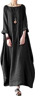 Jacansi Women Summer Stripe Long Sleeve V-Neck Cotton Linen Plus Size Kaftan Dress S-5XL