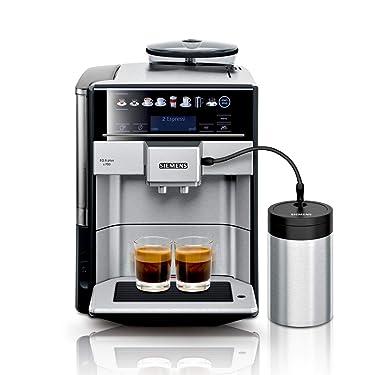 Siemens EQ.6 plus s700 Kaffeevollautomat TE657M03DE, automatische Reinigung, Direktwahl, zwei Tassen gleichzeitig, 1.500 Watt, edelstahl