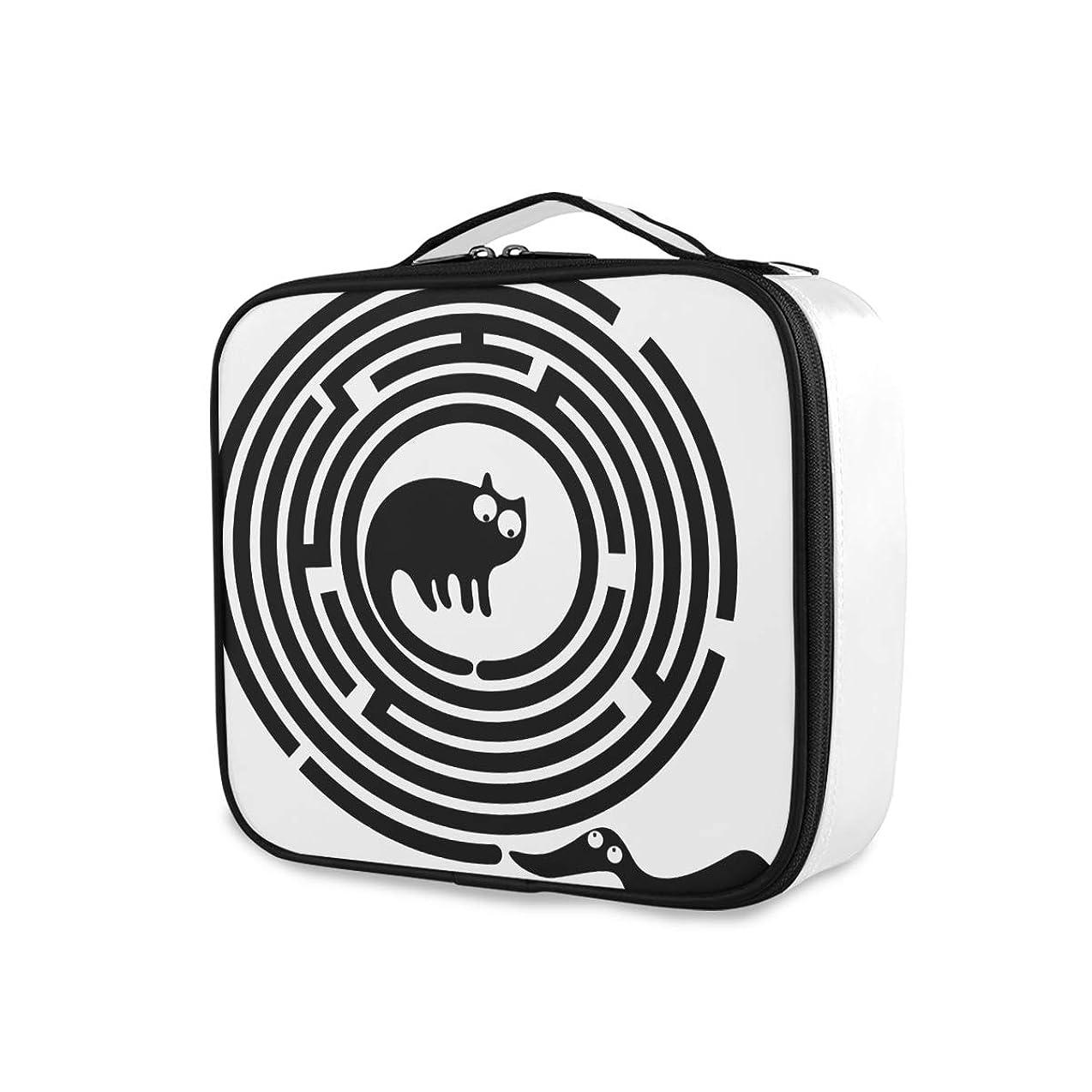 引き潮カメのためにAkiraki 化粧ポーチ メイクボックス 大容量 機能的 おしゃれ かわいい 黒 ブラック 犬柄 猫柄 おもしろ ポーチ 小物入れ メイクポーチ 仕切り 仕分け 収納バッグ 収納ケース 化粧バッグ 旅行 出張 コンパクト 軽量 ファスナー 持ち運び便利