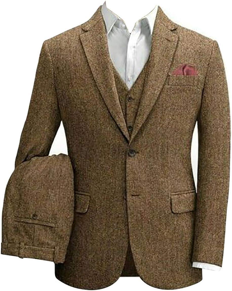 Men's Brown Tweed Tan Tuxedos Slim Fit 3 Pieces Wedding Suit Jacket Vest Pant