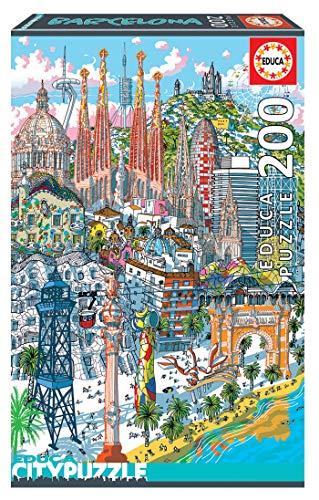 Educa Borras - Serie Citypuzzle, Puzzle 200 piezas, Barcelona (18473)