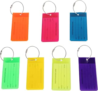 7 Pack Luggage Tags for Suitcases, Flexible Silicone Name ID Labels Set with Steel Loops, Multiple Colors Durable Baggage Bags Identifiers for Travel