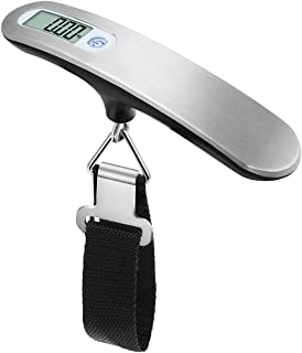 HIPPIH Digital Hanging Luggage Scale, 110lb/50kg Precise Backlight LCD Display Stainless Steel Luggage Scales, Silver