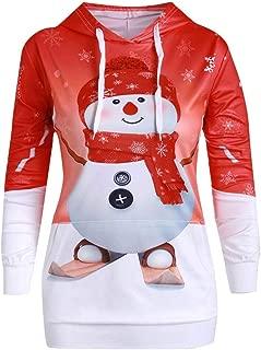 🌻Christmas Hoodies,Women Cartoon Snowman Xmas Sweater Coats Print Sweatshirt Pullover Hoodie Tops