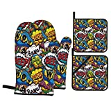 Fonsmay Cooking Gloves and Pot Holders, Comics Speech Bubbles Beep Wow Oven Mitt for Kitchen Barbecue Cooking for Christmas Anti-Ironing Non-Silp Gloves
