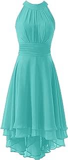 Women's High Low Short Bridesmaid Dress Halter Prom Dress