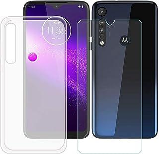YZKJ Fodral för Motorola G8 Plus Cover semi-hållbar mjuk silikon skyddande skal TPU skal skal skal skal + pansarglas skärm...