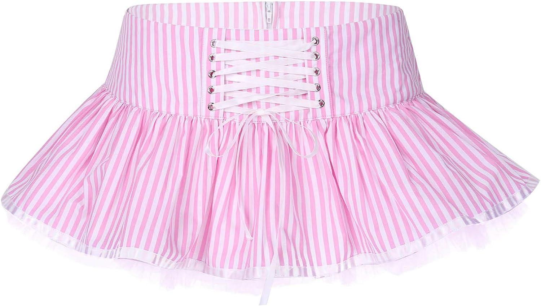 moily Womens Low Waist Striped Mini Skirt Zippered Staps Lace-up A-line Tutu Skirts Petticoat Skirt