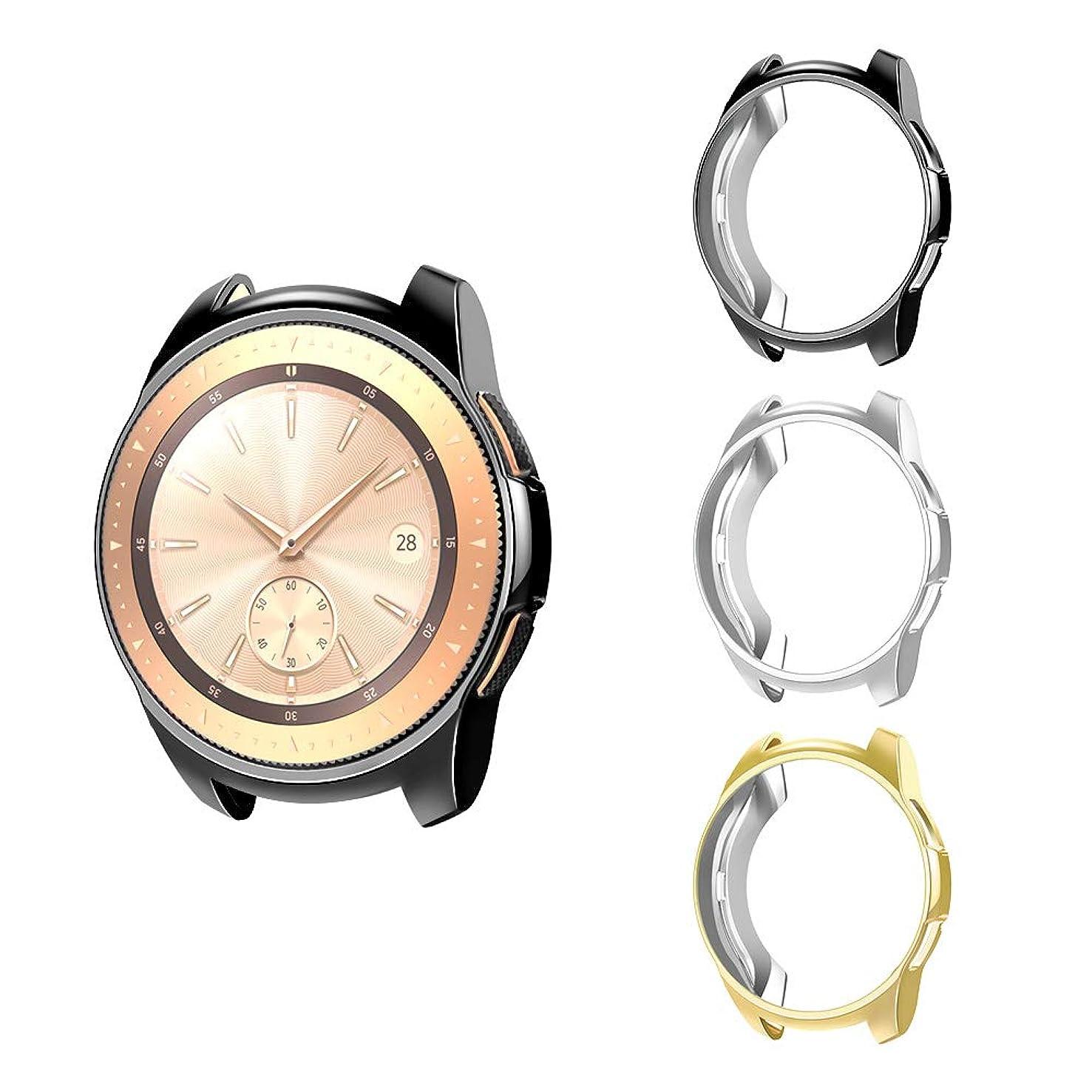 小川枢機卿滅びるATiC Galaxy Watch 42mm ケース Galaxy Watch カバー 保護ケース メッキ加工 TPU製 耐衝撃 超簿 取付簡単 スマートウォッチケース Samsung Galaxy Watchに対応 3枚セット Black&Silver&Gold