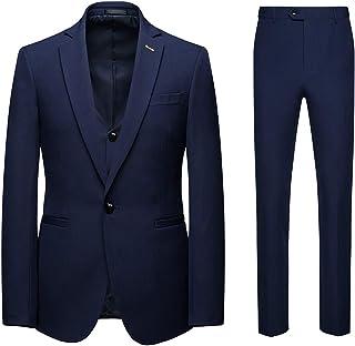 AOWOFS Men's Suits 3 Piece Suits Slim Fit Business Wedding Dinner Blazer Tux Vest Trouser, Blue, 46