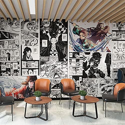Anime Demon Slayer Wallpaper Black and White Comics Bedroom Wallpaper 400(L) x280(H) cm