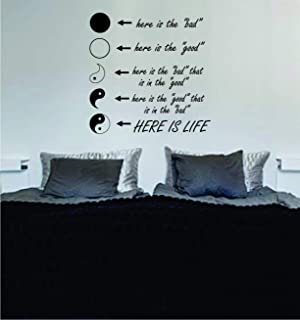 Yin Yang Here Is Life Quote Decal Sticker Wall Vinyl Art Words Decor Design