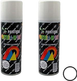 Paintusa - Pack de 2 botes de pintura en spray Blanco Mate