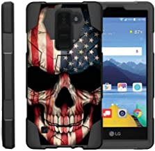 TurtleArmor   Compatible with LG K8V Case   LG K8 V Case   VS500 [Dynamic Shell] Hybrid Dual Layer Hard Shell Kickstand Silicone Case - US Flag Skull