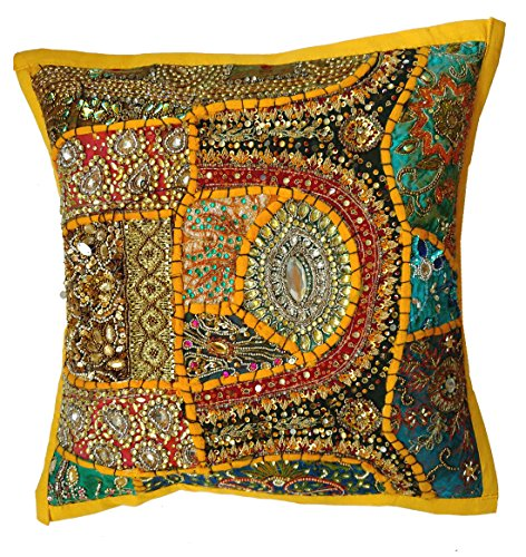 Rastogi Handicrafts Fundas de almohada decorativas, funda de cojín de algodón bordada, funda de cojín hecha a mano tradicional india (amarillo)
