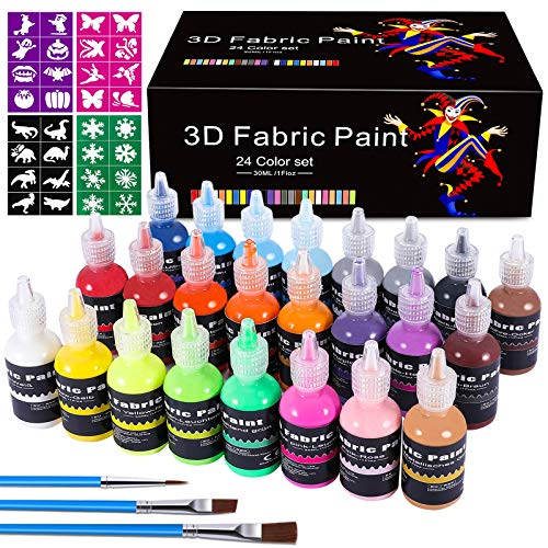 3D Fabric Paint Set, Emooqi Fabric Markers (24 Metallic & Glitter Colors) with 3 Brushes and 4 Stencils, Glow in The Dark & Vibrant Shades, Textile Paint for Clothing, Accessories,Ceramic,Glass