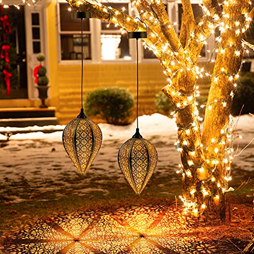 2 Pack Hanging Solar Lanterns, OxyLED LED Solar Lanterns Outdoor, Garden Lanterns Solar Powered Waterproof, Decorative Retro Metal Solar Lights with Handle for Patio Yard Pathway Tree Fence Christmas