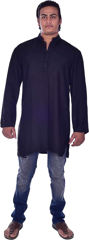 Lakkar Haveli Men's Indian Tunic T-Shirt Tops Shirt Kurta Solid Blue Color 100% Cotton Big Tall