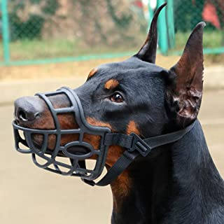 KITAINE Dog Muzzle, Soft Breathable Rubber Basket Muzzle for Dogs Small Medium Large Dogs Muzzle to Stop Biting Chewing Barking, Lightweight Adjustable Muzzle Allow Dog Safe Walking Panting