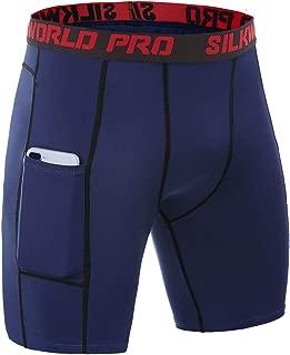 Men's Compression Shorts Pockets Sports Running Tight