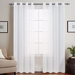 jinchan Sheer White Curtains for Bedroom Voile Sheer Curtains for Living Room,Grommet Top (2 Panels, 50 Inch Width x 63 Inch Length, White)
