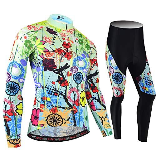 BXIO Winter Radtrikot für Damen, Schwarz Radsportbekleidung MTB Warm Bike Suits 038 (Winter(187,Flower,Tights), XL)
