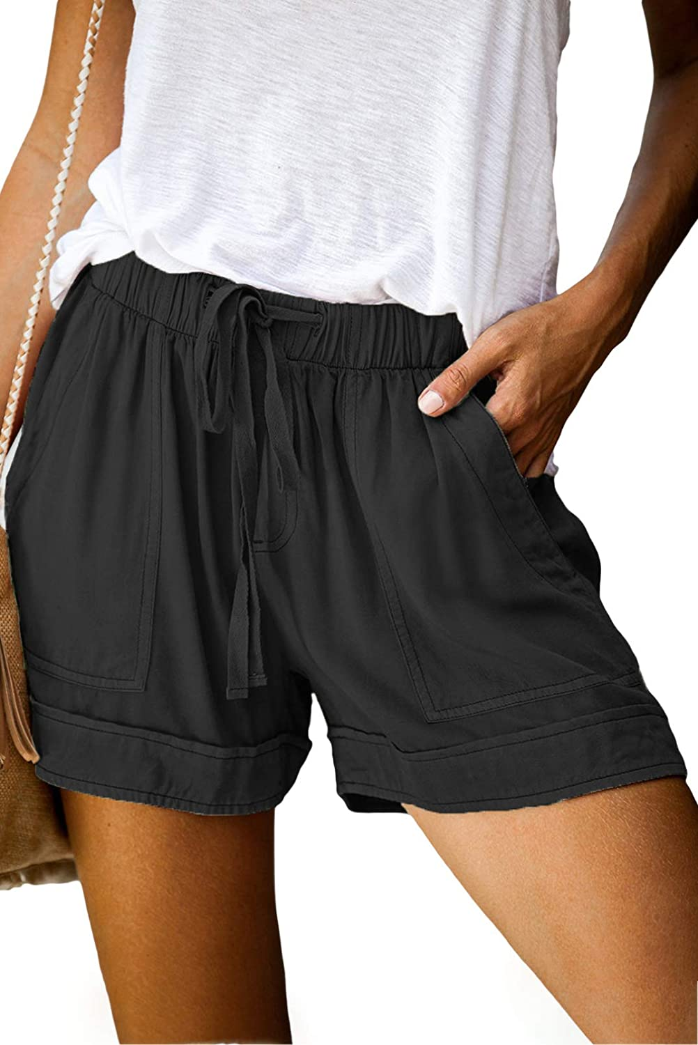 ROSKIKI Womens Summer Casual Drawstring Elastic Waist Comfy Pure Color Shorts with Pockets