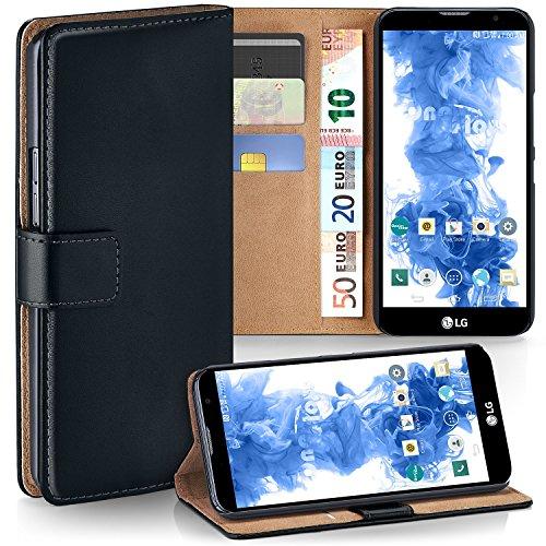 MoEx Premium Book-Case Handytasche kompatibel mit LG G4c   Handyhülle mit Kartenfach und Ständer - 360 Grad Schutz Handy Tasche, Schwarz