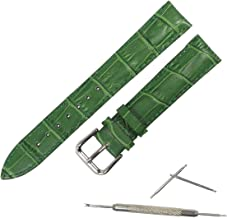 腕時計 ベルト 牛革 本革 ワニ革型押し 厚め 防水加工 バネ棒・交換工具付き 時計バンド (14mm, グリーン)