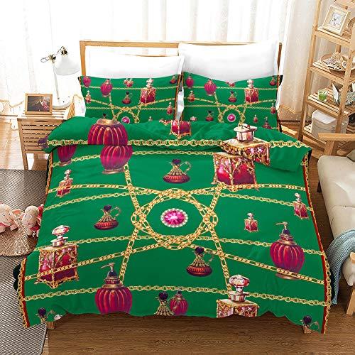 QRTQ Bettwäsche-Set aus Mikrofaser Vintage Parfüm Muster 200x200cm Bettbezug und 2 80x80cm Kissenbezüge Weiche und Angenehme Schlafkomfort, mit Reißverschluss
