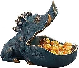 XKUN Miska na klucze miska ze słodyczami dekoracyjne miski dzik zwierzę rzeźba żywica dekoracja przechowywanie brelok misk...